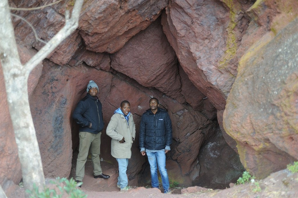 From left, Mukelo Mnisi, Sindiso Masuku and Muzi Shongwe photographed inside Ngwenya Mine's Lion Cavern. They worked for Salgaocar during its 2011 to 2014 operations. Working conditions were as terrible as the low pay, they say. Picture: Supplied
