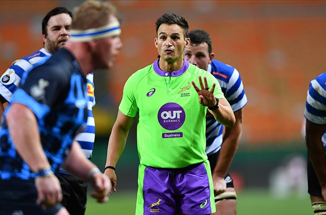 Bulls prop Jacques van Rooyen and referee AJ Jacobs during the Currie Cup encounter between Western Province and the Blue Bulls at Newlands on 28 November 2020.