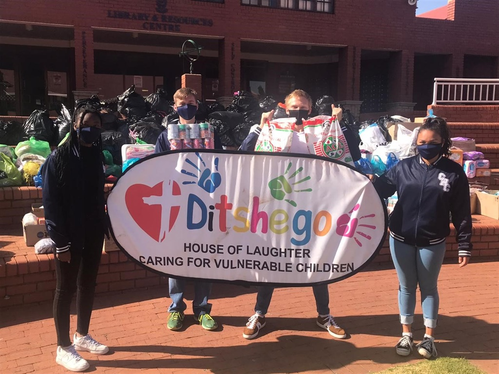 Pupils of Cornwall Hill College in Centurion show some of the goods they collected during lockdown to donate to Ditshego House of Laughter.