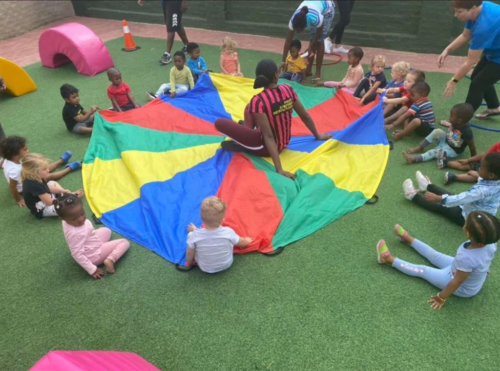 Children have a lesson outside at the Kyalami Preschool before the Covid-19 lockdown.
