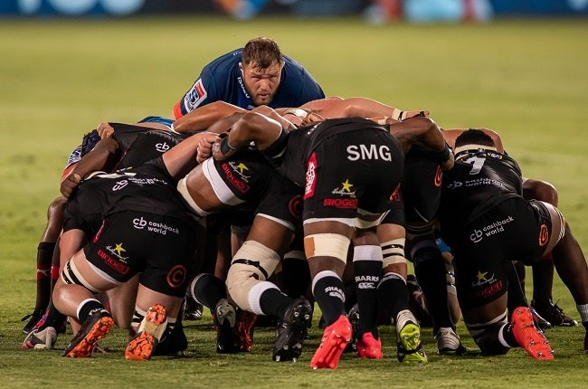Duane Vermeulen of the Bulls watches over all at scrum time during the Super Rugby Unlocked match against the Sharks at Loftus Versfeld in Pretoria on 24 October 2020.
