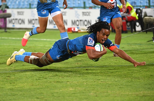 Bulls centre Stedman Gans scores during their Super Rugby Unlocked encounter against the Stormers at Loftus Versfeld in Pretoria on 31 October 2020.