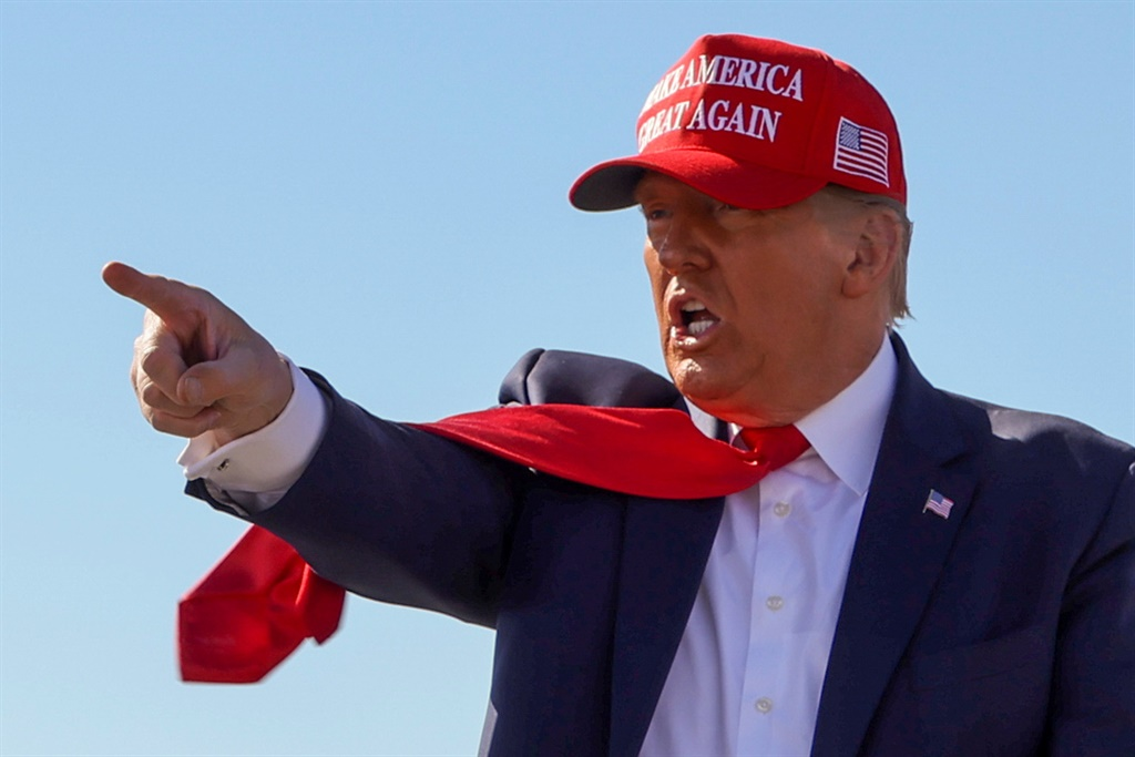 U.S. President Donald Trump points a finger during a campaign rally at Laughlin/Bullhead International Airport in Bullhead City, Arizona, U.S., October 28, 2020.