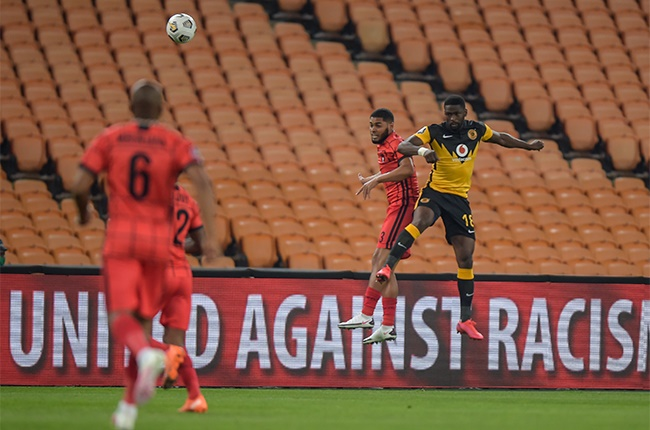 Ebrahim Seedat of TS Galaxy and Kgotso Moleko of Kaizer Chiefs during the DStv Premiership match between Kaizer Chiefs v TS Galaxy at FNB Stadium on November 04, 2020 in Soweto, South Africa.