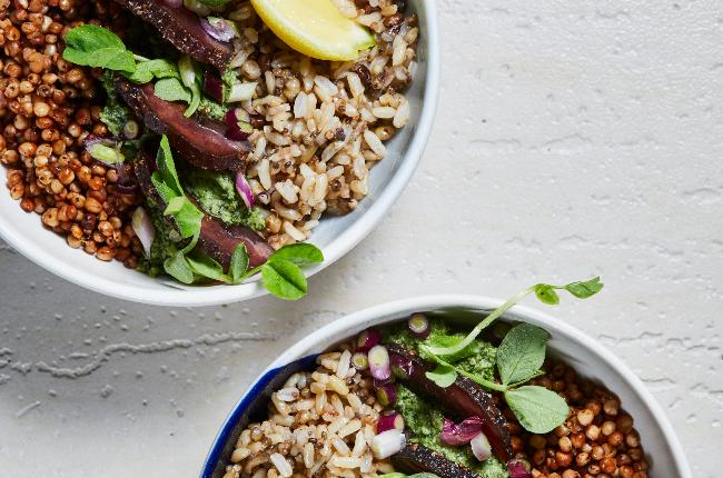 Grain, pesto and biltong bowl (Photo: Jacques Stander)