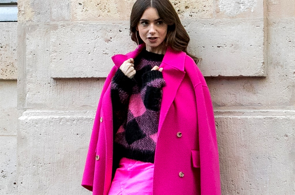 Actress Lily Collins is seen on the set of 'Emily in Paris' on November 05, 2019 in Paris, France. (Photo by Marc Piasecki/GC Images)