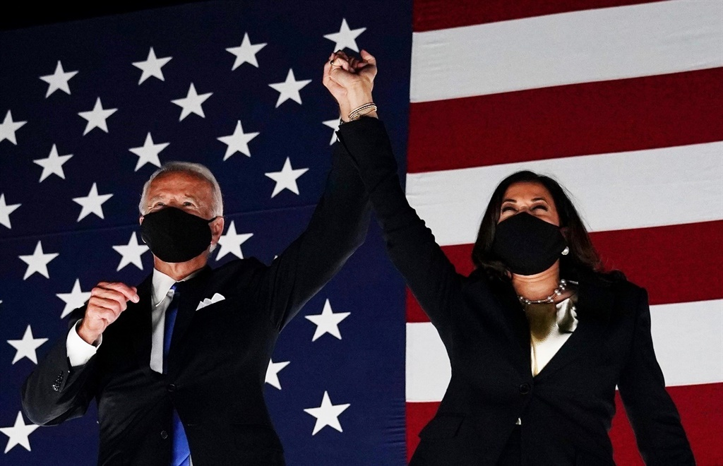 Victory! Joe BIden has won the US election. He is pictured with running mate Kamala Harris