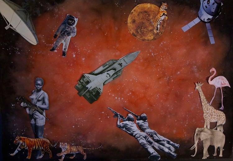 'Tiger Jump', 2020. Watercolour, newspaper and mag