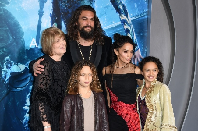 With his mom Coni Momoa, son Wolf, wife Lisa and d