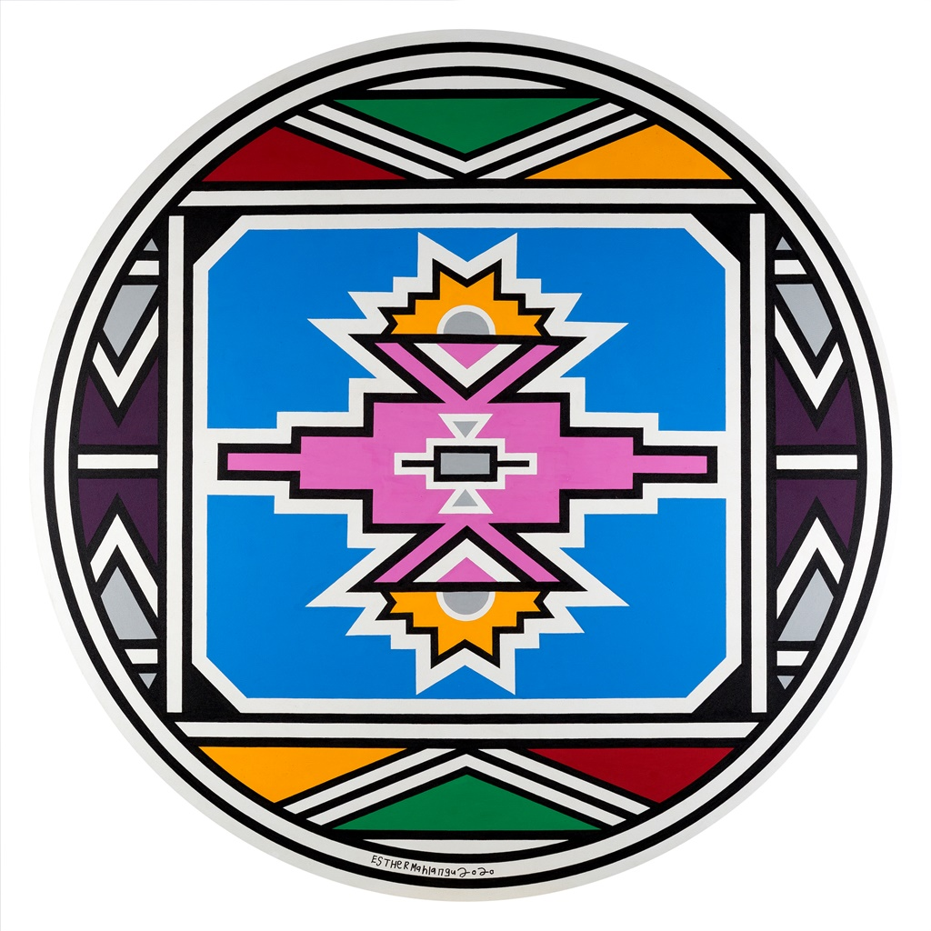 An untitled abstract work by Dr Esther Mahlangu produced in 2019