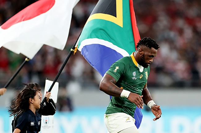 Siya Kolisi prior to the Rugby World Cup quarter-final between Japan and South Africa at the Tokyo Stadium on 20 October 2019 (Photo by Hannah Peters/Getty Images)
