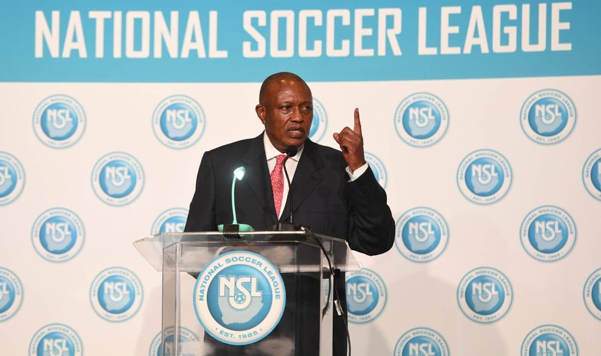 PSL chairperson Irvin Khoza addresses delegates during the league's annual general meeting on Wednesday Picture: PSL