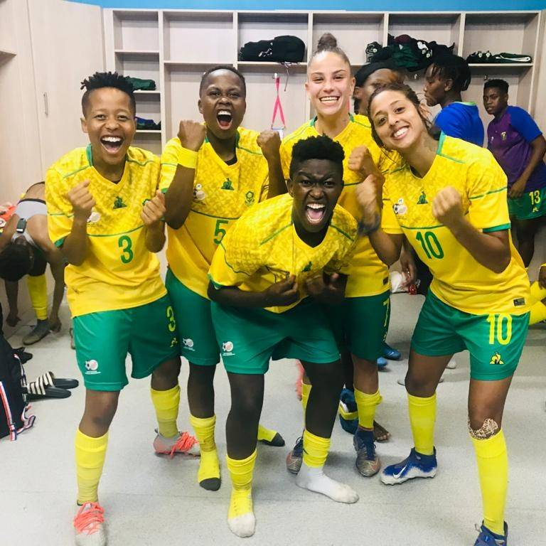 Banyana players celebrating yet another win at the Cosafa Women's Championship in Port Elizabeth Picture: Safa