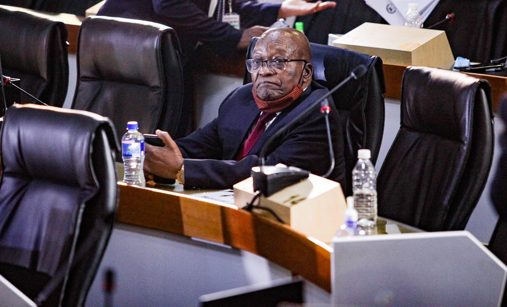 Former president Jacob Zuma appears at the Zondo commission. (Sharon Seretlo, Gallo Images).