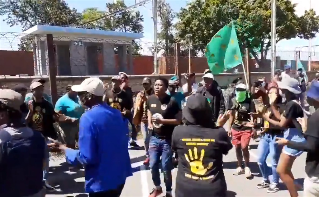Pan Africanist Congress of Azania protesters outside Brackenfell train station. (Jenni Evans, News24)