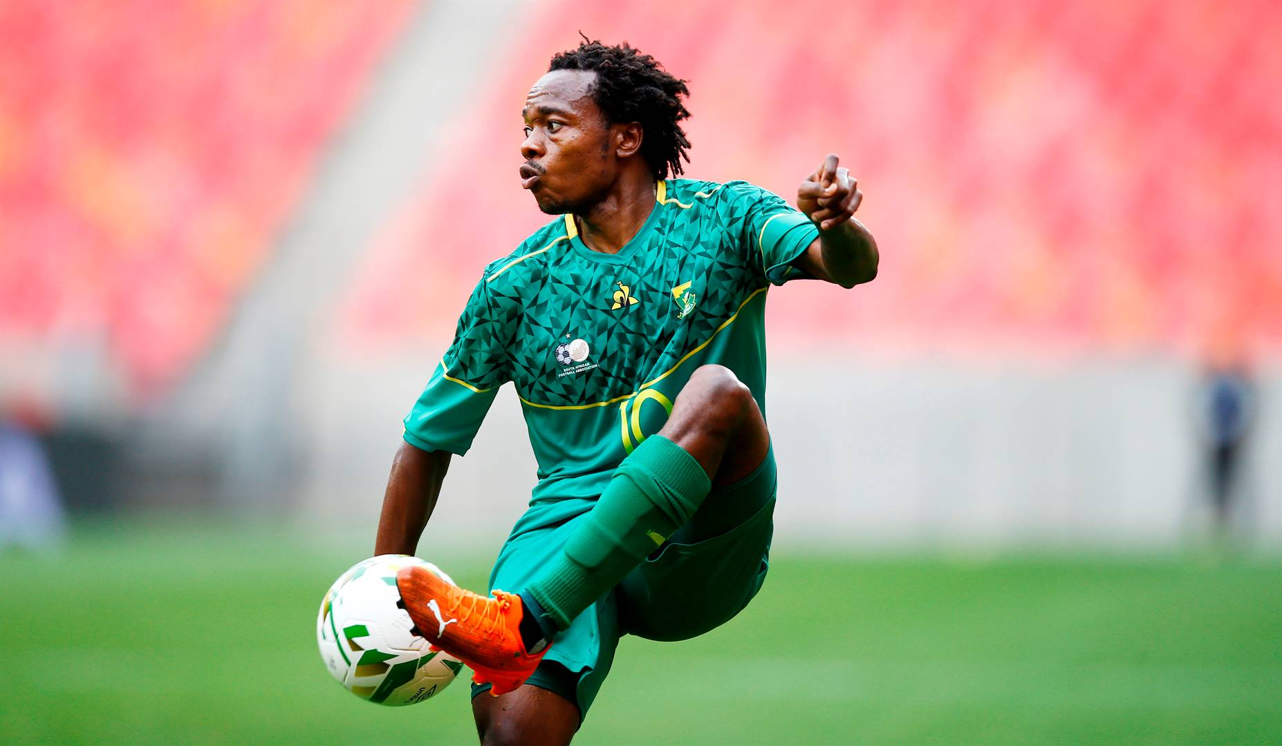 Percy Tau was instrumental in Bafana's back-to-back wins over São Tomé and Príncipe. Picture: Steve Haag / Gallo Images