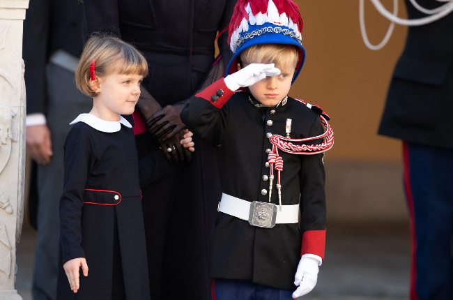 Learning the royal ropes: Prince Jacques, accompanied by his twins sister, Princess Gabriella, gives a salute at Monaco's National Day on 19 November. (Photo: Gallo Images/Getty Images)