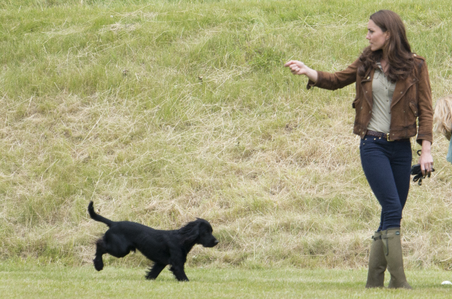 Kate with Lupo at the Tusk Charity Polo match in 2012 about a year after they got him. (Photo: Gallo Images/Getty Images)