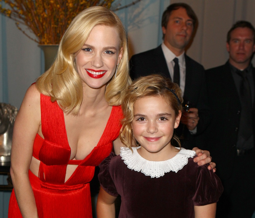 Actors January Jones and Kiernan Shipka attend AMCs 2011 Golden Globe Awards viewing and after party held at The Beverly Hilton hotel on January 16, 2011 in Los Angeles, California.