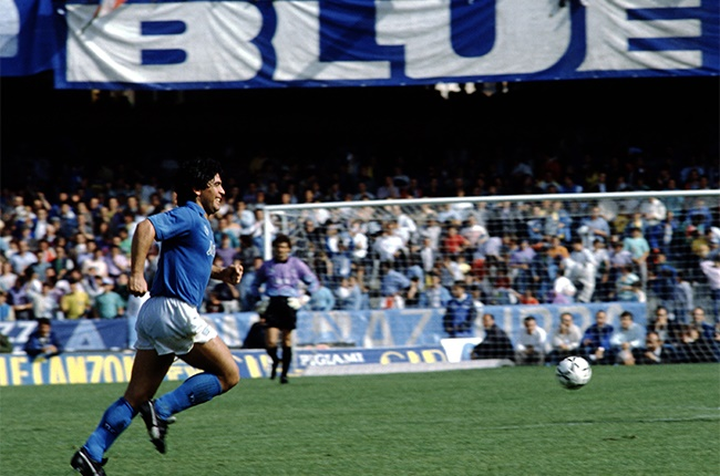 Diego Maradona of Napoli in action during the match between Napoli and Genova at the San Paolo Stadium on June 4, 1989 in Naples, Italy.