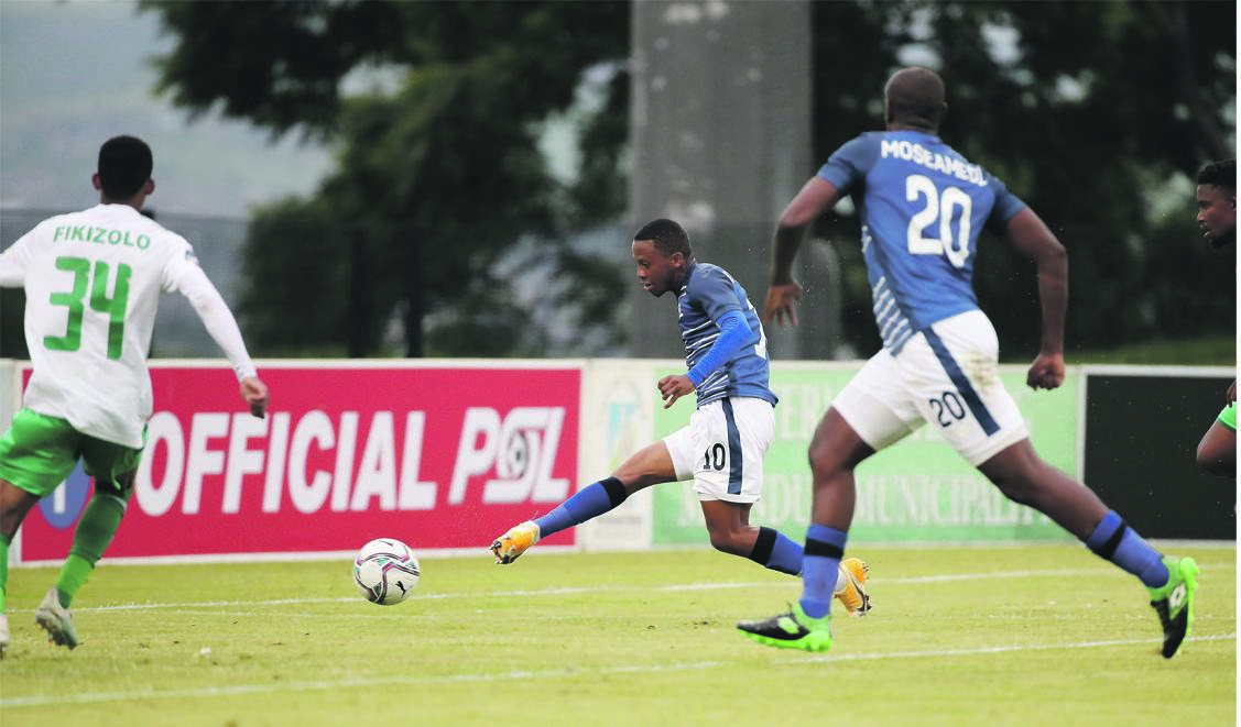 Thabiso Kutumela of Maritzburg United fires home the first goal in Saturday's 2-1 win over Bloem Celtic in the DStv Premiership at Harry Gwala Stadium.