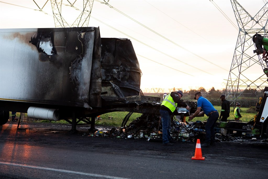 In July trucks were also torched. It was reported at the time that both the N7 and N1 were affected by protests after a nationwide call for truck drivers to stop operating to protest the employment of foreign drivers. Picture: Gallo Images/Jacques Stander