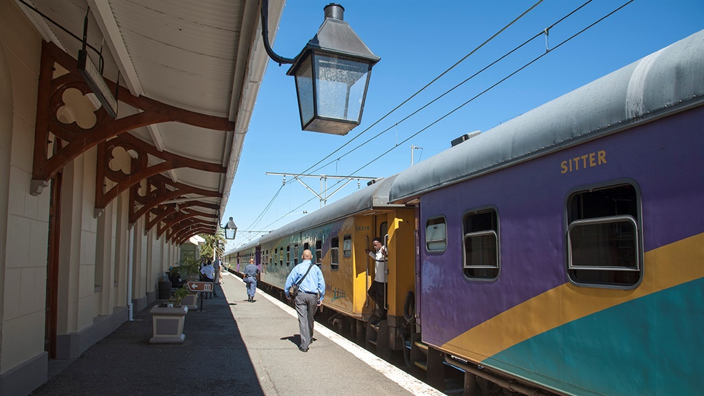 The Shosholoza Meyl train arrives at Matjiesfontein Station in the Karoo region South Africa. (Photo by: Education Images/Universal Images Group via Getty Images)