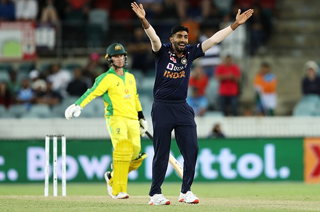 India's Jasprit Bumrah successfully appeals for the wicket of Adam Zampa of Australia during the third ODI at Manuka Oval in Canberra on 2 December 2020.