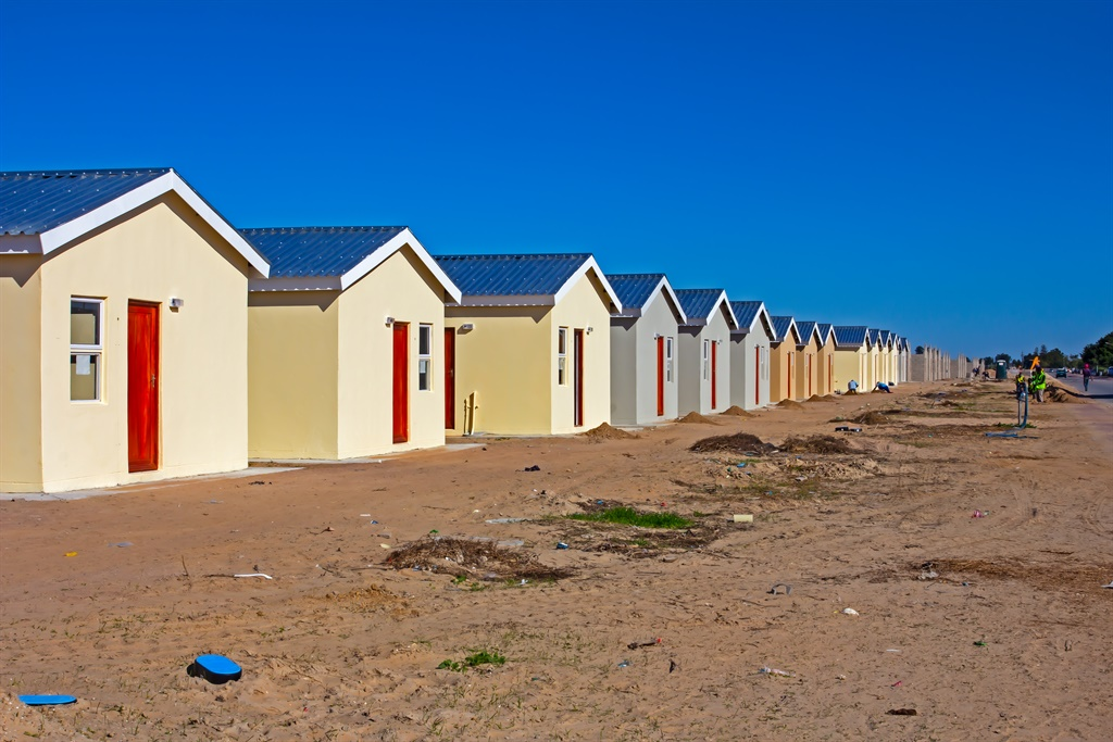 Row of low-cost RDP homes under construction in We
