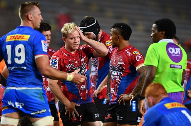Ross Cronje and Elton Jantjies earlier this season against the Stormers (Gallo Images)