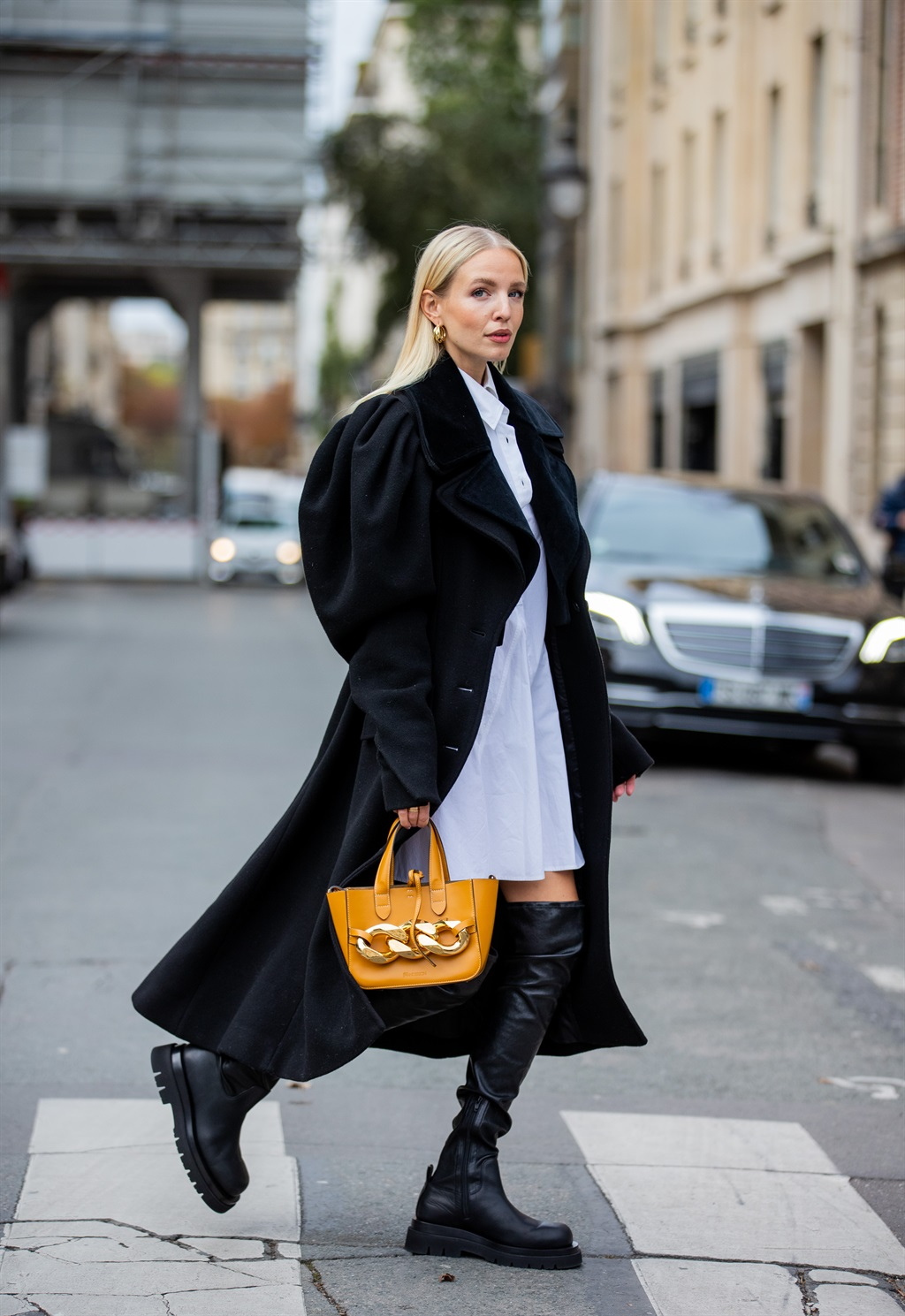PARIS, FRANCE - OCTOBER 08: Leonie Hanne is seen w