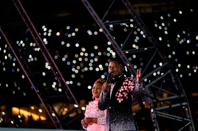 Prophet Bushiri and wife Prophetess Mary during a crossover at the FNB Stadium as they ushered in 2020.