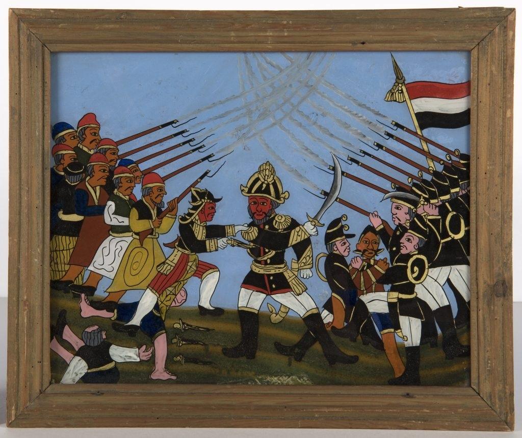 An unknown artist's depiction of the attack on Captain Tack at Kartasura by Suropati in 1684, under Susuhunan Amangkurat, (1900–50.) Stichting Nationaal Museum van Wereldculturen.