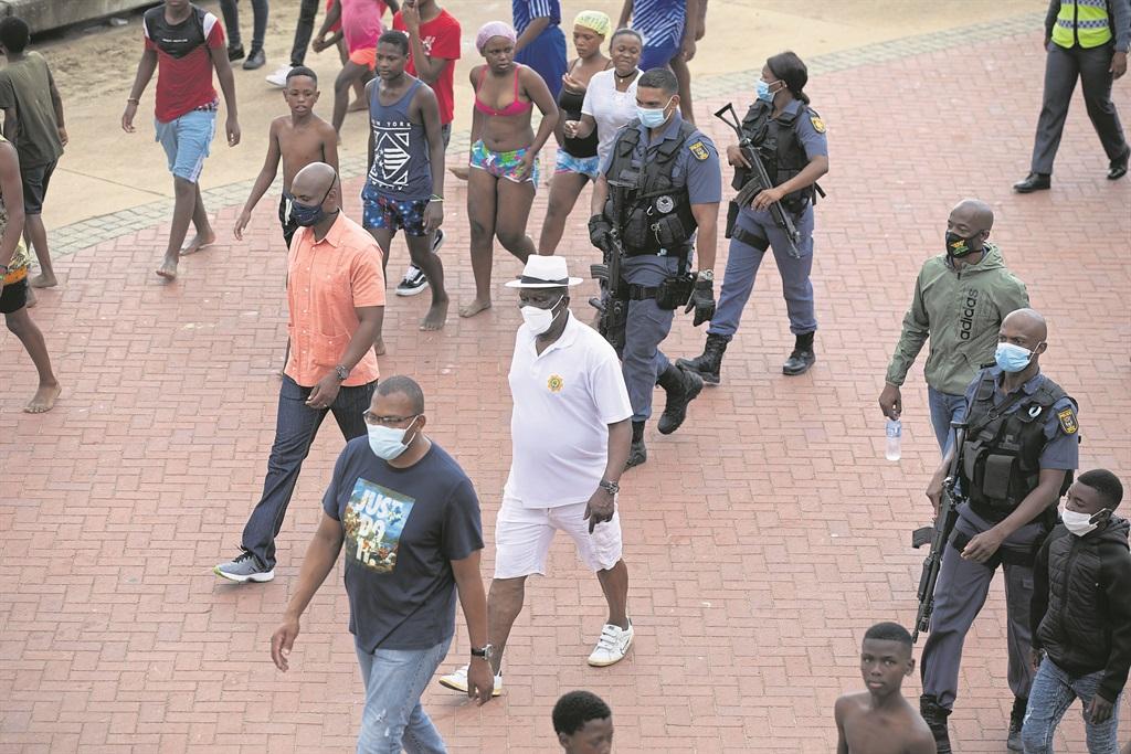 Police minister Bheki Cele inspects the Durban bea