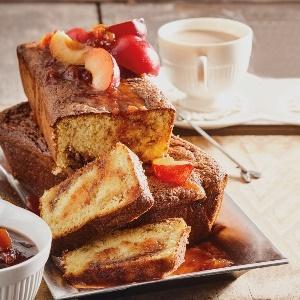 Polenta jam-marbled tea loaf