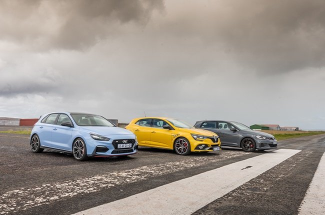 Three of 2020's hottest hatchbacks (from left): Hyundai i30N, Renault Megane RS 300 Trophy, Volkswagen Golf GTI TCR.