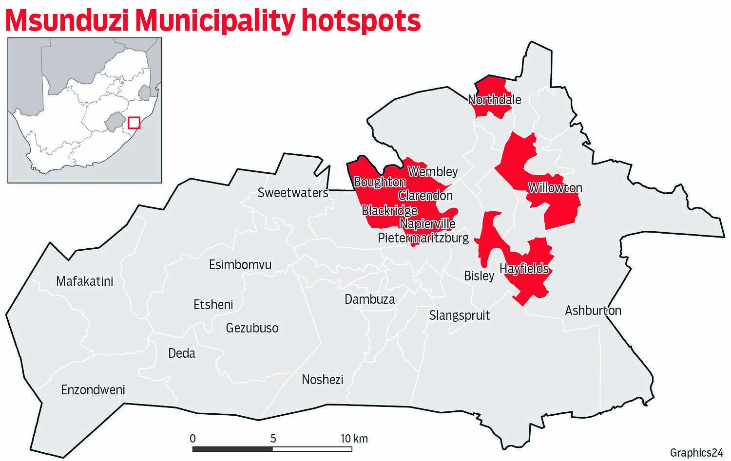 A map of Pietermaritzburg showing Covid-19 infection hotspots in mid-December. graphics24