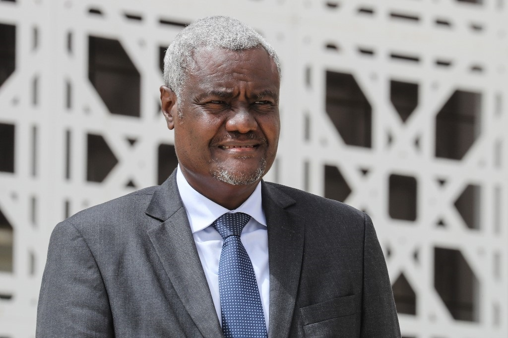 African Union Commission Moussa Faki poses for a group picture during the G5 Sahel summit on June 30, 2020, in Nouakchott.