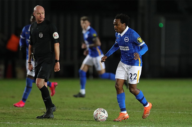 Percy Tau during an FA Cup third round clash against Newport County.