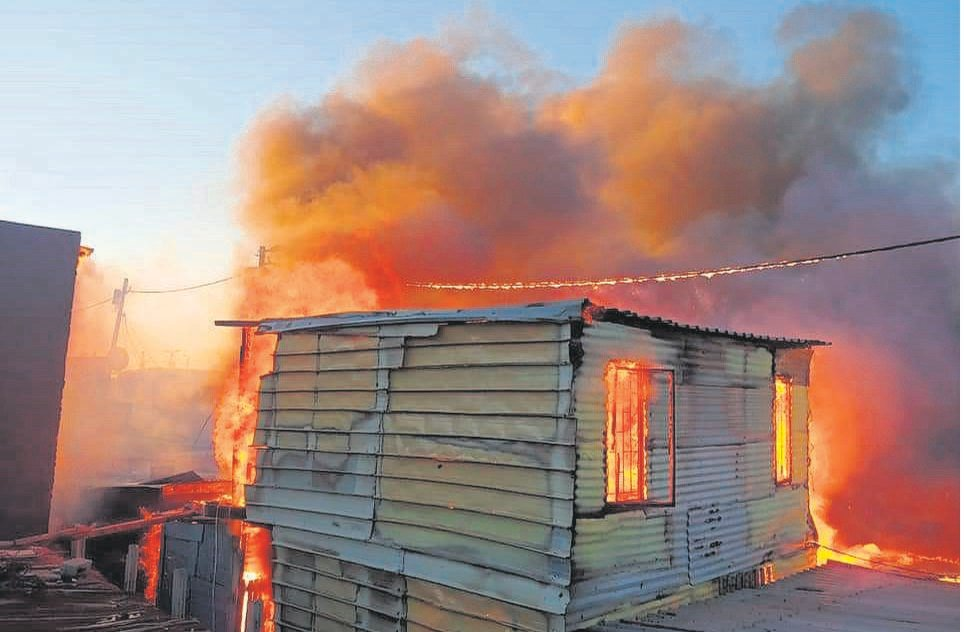 A fire which broke out on 17 December last year in Masiphumelele affected more than 1 000 informal homes.PHOTO: Banda Jr