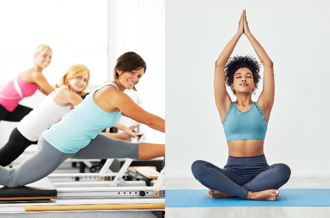 While Pilates and yoga are both low-impact workouts that incorporate breathwork – there are key differences. (Photo: Getty Images/Gallo Images)