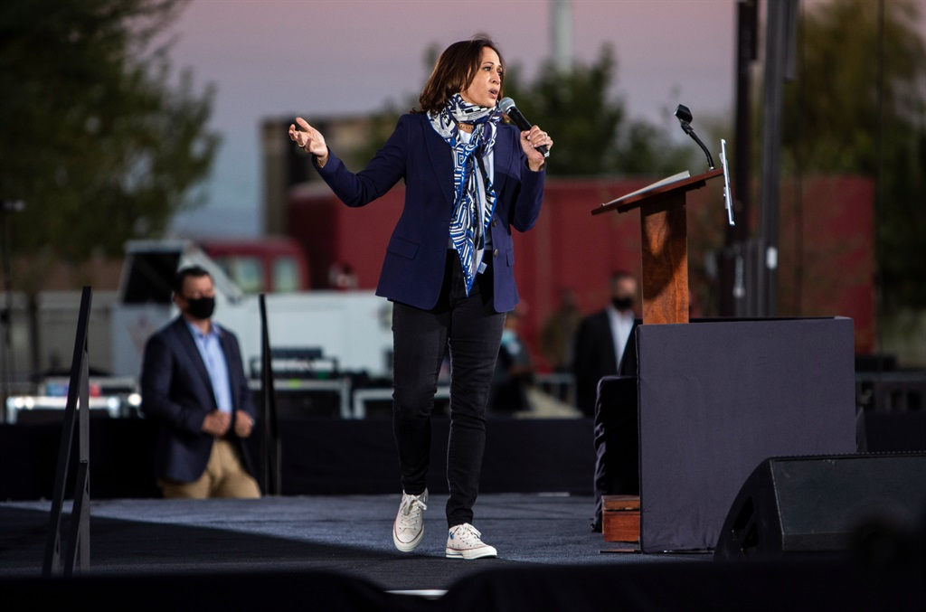 Kamala Harris speaks during a campaign stop on October 27, 2020 in Las Vegas, Nevada. (Photo by Joe Buglewicz/Getty Images)