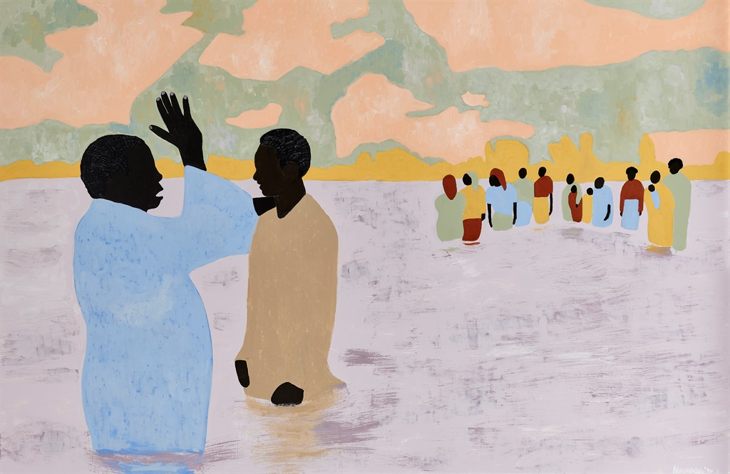 To Live Long Is To See Much (Ritual Bathers III), 2020. Oil and acrylic on cotton poly. (Cassi Namoda/ Courtesy of Goodman Gallery)