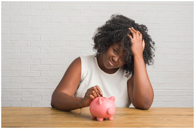 Woman stressed about money.