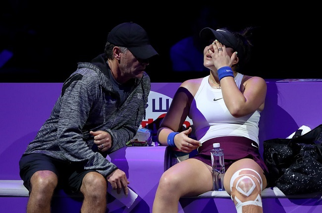 Bianca Andreescu of Canada speaks to her coach Sylvain Bruneau. (Photo by Matthew Stockman/Getty Images)