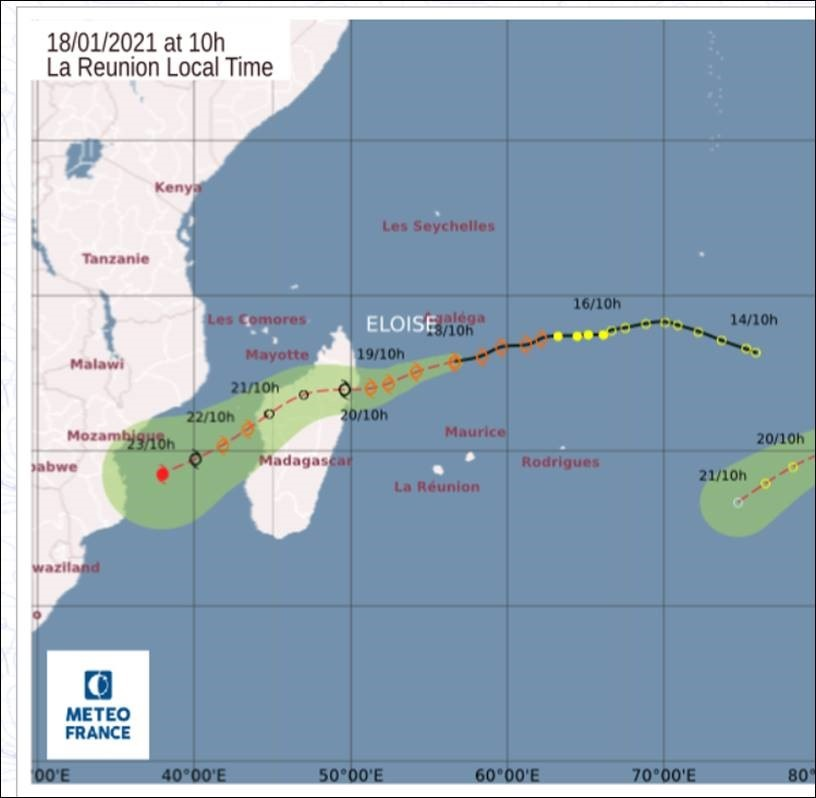 """The predicted track for """"Eloise"""" over the next few days, as supplied by WMO RSMC La Reunion (MeteoFrance). The green shaded region represents the highest confidence region for the position of """"Eloise"""". This region expands and becomes larger, as uncertainty increases with increasing lead-time. """"Eloise"""" is projected to be positioned south east of Beira, Mozambique by midday on Saturday 23 January 2021.  Courtesy: RSMC LaReunion"""