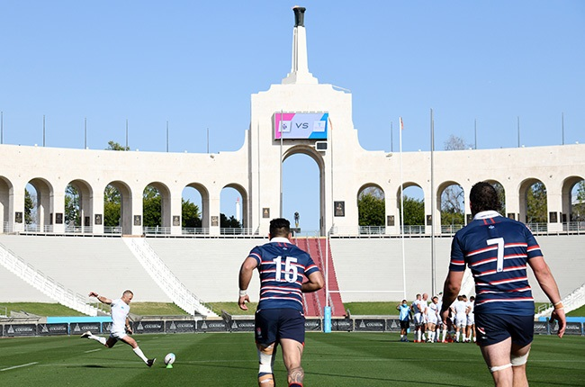 Matt Giteau of the LA Giltinis converts a try against the New England Free Jacks at Los Angeles Coliseum. (Photo by Harry How/Getty Images for LA Giltinis)