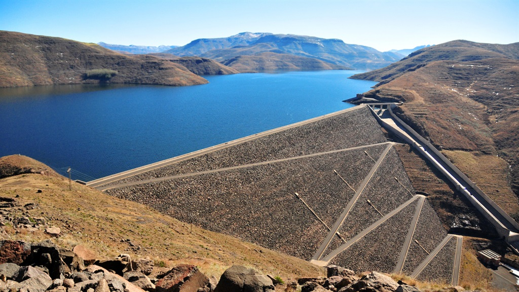 The embankment of the Mohale Dam