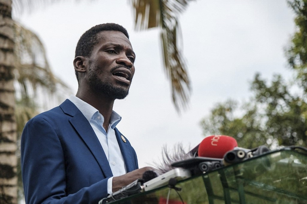 Bobi Wine, speaks during a press conference at his home in Magere, Uganda.