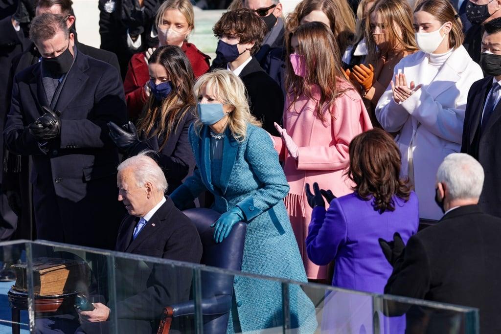 WASHINGTON, DC - JANUARY 20: Dr. Jill Biden reacts